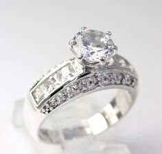 Round-Cut Cubic Zirconia Solitare w/ Accents Engagement Ring in Sterling Silver #Seta #SolitairewithAccents