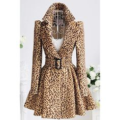Stylish Turn-Down Collar Long Sleeve Leopard Print Belted Women's Coat