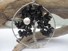 Black Spinel Tree of Life Pendant in Sterling by WindysDesigns, $45.00