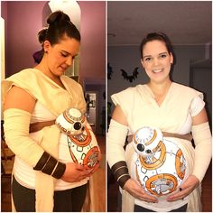 My maternity costume for Halloween! Rey and my baby BB-8 bump! May the force be with you! #starwars #rey #bb8 #theforceawakens #pregnant #maternitycostume