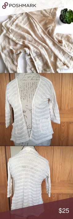Urban Outfitters Pins & Needles Crocheted Cardigan Pretty open crocheted sweater that will be perfect for a breezy cover up in the spring and summer. Small hole on the right hand side near the right breast and a couple of tiny pull; otherwise, great pre-loved condition!   🚫no trades 🚫no modeling ✅dog friendly/🚭smoke free home ✅reasonable offers ✅bundle & save! Urban Outfitters Sweaters Cardigans