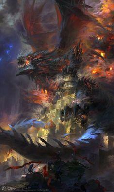 As incríveis ilustrações de fantasia com um toque de mitologia chinesa de Wei Feng