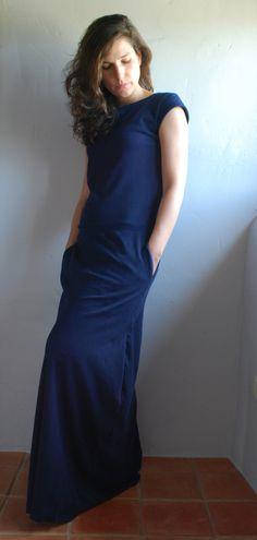 Navy+Maxi+Dress+Tshirt+cotton+interlock+/+++by+kupukupuapparel,+€60.00