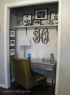 Susie Harris: DIY closet desk with Martha Stewart & Home Depot Closet Turned Office, Closet Desk, Closet Vanity, Closet Bedroom, Closet Space, Converted Closet, Hall Closet, Master Closet, Office Nook