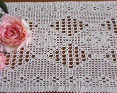Your place to buy and sell all things handmade Crochet Table Topper, Vintage Baby Boys, Crochet Lace Edging, Embroidered Pillowcases, Table Toppers, Diamond Design, Vintage Table, Vintage Crochet, Diamond Pattern