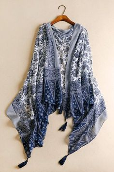 blue & white pashmina --- pashminas are perfect for summer. they protect skin from the sun and keep you warm in arctic air-conditioning!