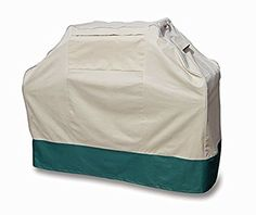 Professional Grade Heavy Duty BBQ Grill Cover by Pro Leisure Outdoor (Large Size, Beige/Hunter Green)