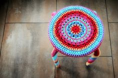 crochet covered stool yarnbomb leasowes view