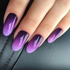70 charming and beautiful purple nail designs 6 Purple Ombre Nails, Purple Nail Art, Purple Nail Designs, Gradient Nails, Nail Art Designs, Nails Design, Ombre Nail Art, Orange Nails, Purple Nails With Design