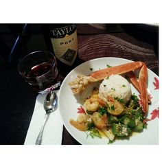 Seafood lover. Crablegs, shrimp, tilapia, okra , rice and red wine taylor port