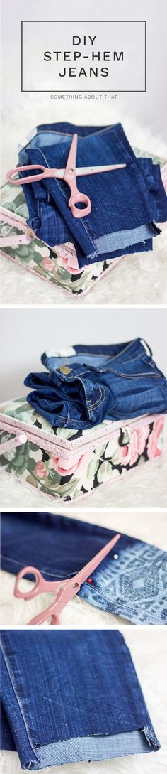 How to DIY Step-Hem Jeans - This is an easy tutorial, that fashion and lifestyle blogger Jackie of Something About That is sharing on her blog