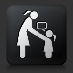 Black Square Button with Girl Talking to Mom vector art illustration