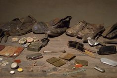 Auschwitz II-Birkenau. Some personal objects belonging to the Jewish victims which are presented inside the central bathouse (central sauna) building at the BIIg sector of Birkenau camp.