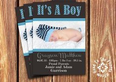 Baby Boy Birth Announcements by FromHeadtoToeFashion on Etsy, $12.00