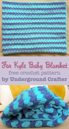 Make this easy ripple baby blanket with Lion Brand Pound of Love! For Kyle Baby Blanket, is a free crochet pattern by Marie Segares/Underground Crafter. You will need 2 skeins of yarn (pictured in denim and turquoise) and a size I-9 (5.5mm) crochet hook.