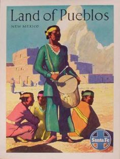 Santa Fe Railroad Original Vintage Travel Poster Land of the Pueblos