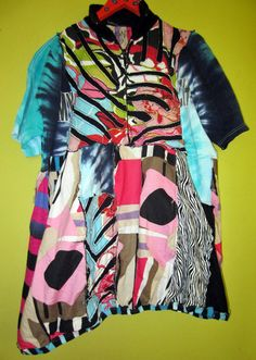 SALE Upcycled bubble hem tunic fits L XL 1X by monapaints on Etsy, $149.00