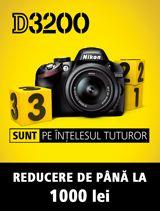 In perioada 31 ianuarie - 21 februarie 2013 la cumpararea aparatului foto DSLR Nikon D3200 kit 18-55 VR beneficiezi de o REDUCERE de pana la 1000 lei.