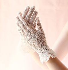 Vintage ivory fishnet gloves Bridal gloves crochet by whichgoose, $30.00