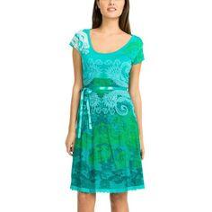 06693210d057 Robe courte manches courtes imprimé arabesques turquoise femme Desigual -  Imprimé turquoise- Vue 1 Robe