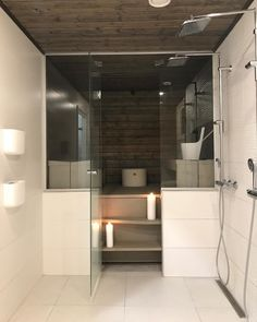 Finnish Sauna, French Door Refrigerator, French Doors, Alcove, Laundry Room, Bathtub, Kitchen Appliances, Sauna Ideas, Bathroom