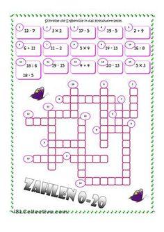 Die Zahlen - German Numbers 1-20 Crossword Puzzle Worksheet | German ...