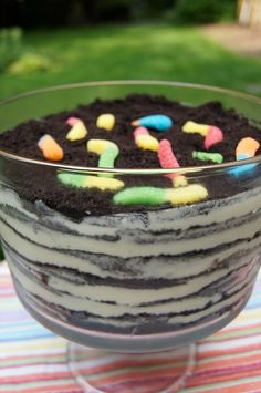 Oreo Cookie Dirt Cake. This fun dessert is so easy to prepare for a Labor Day potluck. Kids and parents alike will love it.