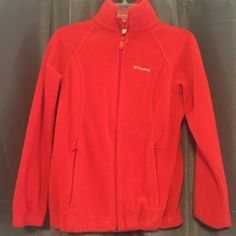 Red Columbia Zip-up Fleece Sweater Women's red Columbia zip up fleece in great condition! This fleece is more fitting to the body and has the ability to be tighter at the bottom. Still very soft and warm! Size small Columbia Jackets & Coats