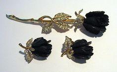 #1676Boucher Black Long Stem Rose Pin & Earrings at Lee Caplan Vintage Collection on RubyLane
