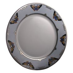 "Hutschenreuther Selb Bavaria Art Deco Platinum & Butterfly Motif Charger (Signed ""Reynolds""/c.1940)"