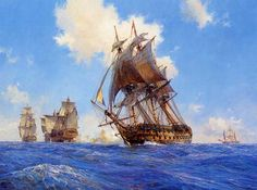 """""""'Agamemnon' opens fire on the 'Ca Ira,' 12th March, 1795,"""" by Geoff Hunt."""