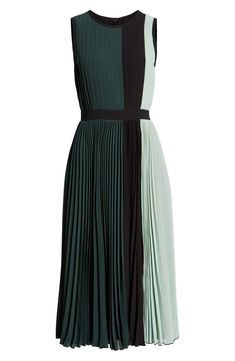 x Atlantic-Pacific Colorblock Pleated Midi Dress, Alternate, color, GREEN- BLACK… - Mvagustacheshire Modest Dresses, Day Dresses, Pretty Dresses, Beautiful Dresses, Dress Outfits, Fashion Dresses, Mini Dresses, Pleated Midi Dress, Dress Skirt