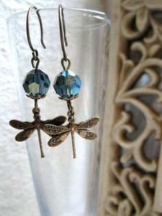 Blue dragonfly earrings, vintage style - Swarovski crystal beads - brass dragonfly charm.