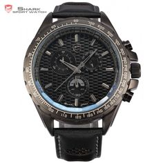 Shark Sport Watch Black Dial 6 Hands Day Display Chronograph Stop Watch Leather Strap Military Men Luxury Quartz-Watches / Frilled Shark, Black Clocks, Military Men, Casio Watch, Watches For Men, Men's Watches, Bracelets For Men, Chronograph, Quartz Watches