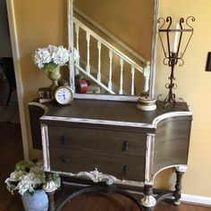 Olive painted server / buffet with white details.