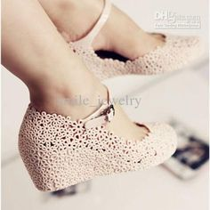Wholesale Jelly shoes flower cutout sandals elevator sandals reticularis bird nest beach women's shoes wedges boots, Free shipping, $38.83-42.03/Piece | DHgate