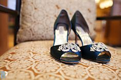 The bride's shoes - stunning teal Badgley Mischka's.  Anna and Andy, Bailly Photography.