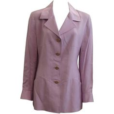 Preowned Karl Lagerfeld Lavender Linen Blend Jacket - 42 - 1980's (€265) ❤ liked on Polyvore featuring outerwear, jackets, purple, 80s jackets, 1980s jackets, karl lagerfeld, karl lagerfeld jacket and lavender jacket