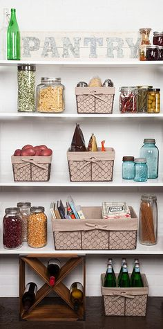 Pantry organization ideas chicken wire metal baskets with liners farmhouse pantry ideas