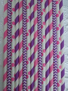 50 PINK & PURPLE Paper Straws Mix Stripes, Chevron and Dots DiY Flags- Kids Birthday Baby Shower Princess Party Ships Fast! Free Tracking! on Etsy, $5.99