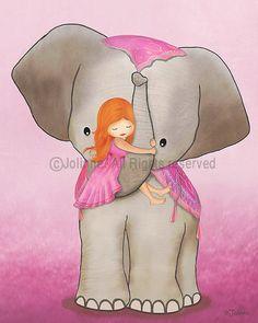 Elephant and girl kids wall art print poster children by jolinne