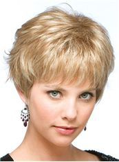 The Fresh Short Straight Blonde Human Hair Wigs