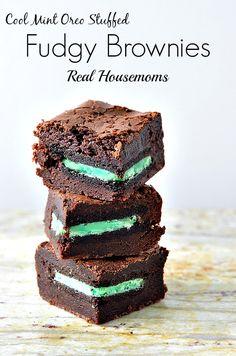 Cool Mint Oreo Stuffed Fudgy Brownies | Real Housemoms | #brownies #dessert