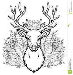 Linear Drawing Of The Head Of A Young Horned Deer, Bouquet Of Leaves. Stock Vector - Illustration of card, animation: 104851471 Animation, Animal Totems, Horns, Illustration, Scandinavian, Deer, Moose Art, Folk, Bullet Journal