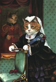 The Ultimate Victorian Cats - Susan Herbert by quiet place - cat art Image Chat, Fancy Cats, Vintage Cat, Cat Drawing, Beautiful Cats, Beautiful Pictures, Animal Paintings, Crazy Cats, Cool Cats