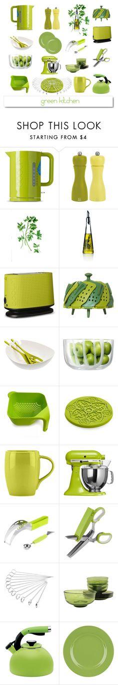 Green Kitchen by ioakleaf on Polyvore featuring interior, interiors, interior design, home, home decor, interior decorating, KitchenAid, Peugeot, LSA International and Bodum