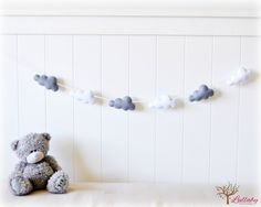 Cloud garland - white and grey felt clouds - Nursery decor - bedroom decor - MADE TO ORDER by LullabyMobiles on Etsy