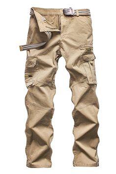 9dd073d163 Menschwear Men's Multi Pockets Cargo Trousers Military Style with belt (28,  Black)