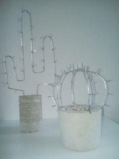Wire cactus in concrete planter diy