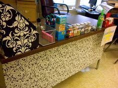 my desk - covered the ugly, old tape stained desk with trendy contact paper